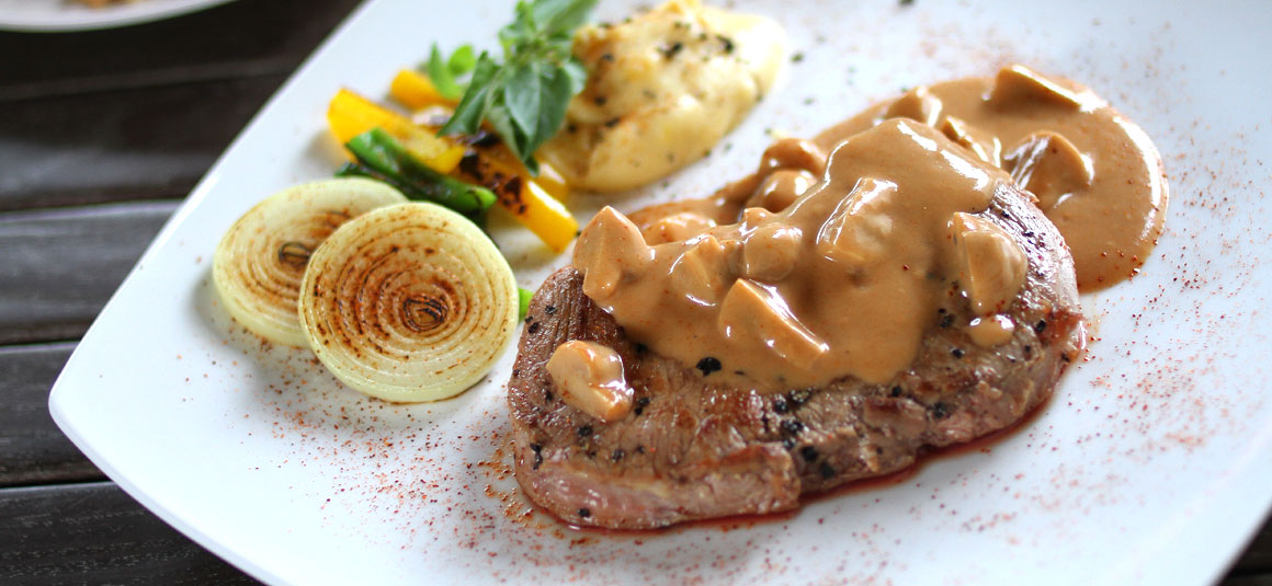 Sirloin Steak with Mushroom Sauce